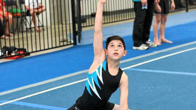 Mackay Gymnastics' Connor Muscat during a floor routine.