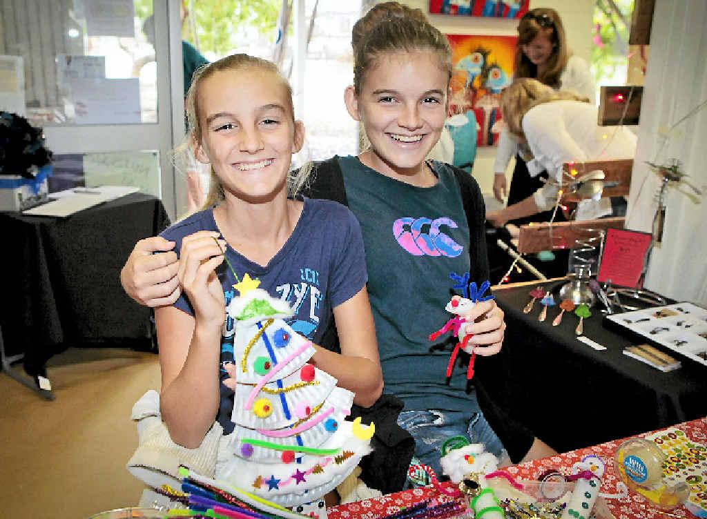 CREATIVE FUN: Brooke Yetman, 13 and her sister Renee, 15.