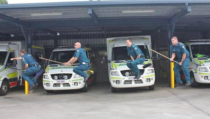 Gladstone paramedics Jacob Serena, Spencer Underwood, Josh Radloff and Tas Herbert fly through a shift.