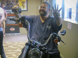 Win means Bruce gets to roar home on a Harley