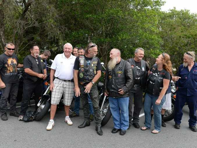 Mike Lawson (White Top) of Kids in Need with Tom Patterson (On his Left) president of Tweed Heads motor cycle enthusiasts club with some of the clubs members. Photo: John Gass / Tweed Daily News
