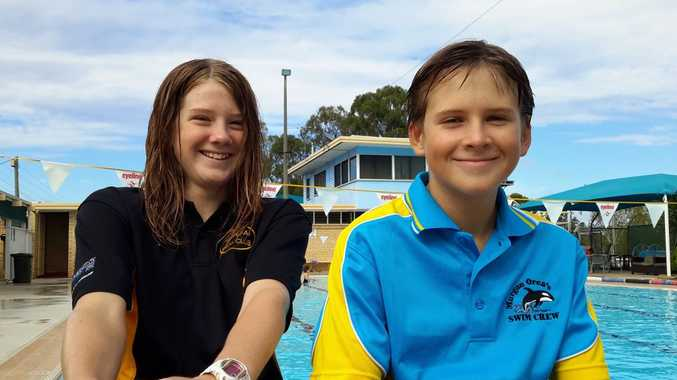 TALENT POOL: Emma Cran, 12, and James Hadley, 11, are swimming at the State Titles.