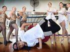 Kyle Clark with Jeanette Jordan, Taylor Snell, Katie Meier, Jessica Barnes, Toni McKell and Ebony Smith are senior dancers Sparks Dance Studio.