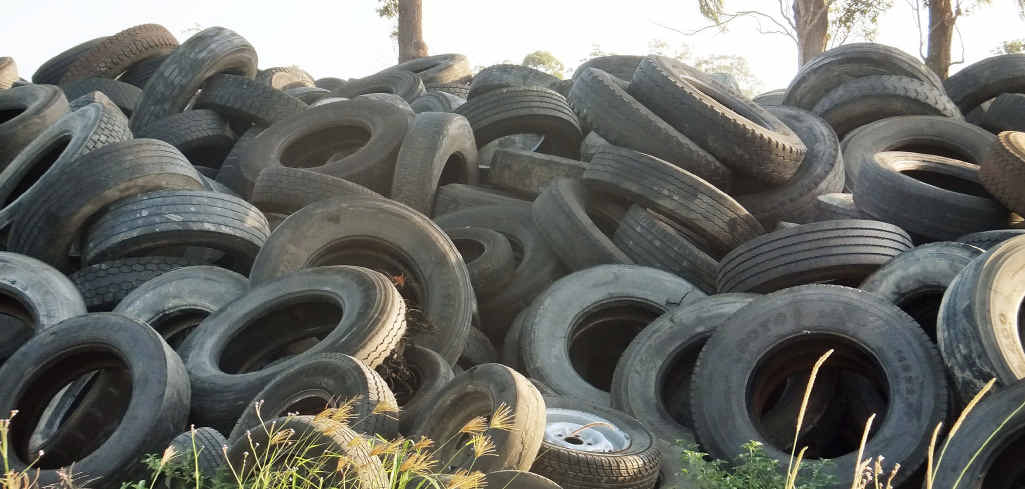 A large stockpile of used car and truck tyres at the Haigslea property.