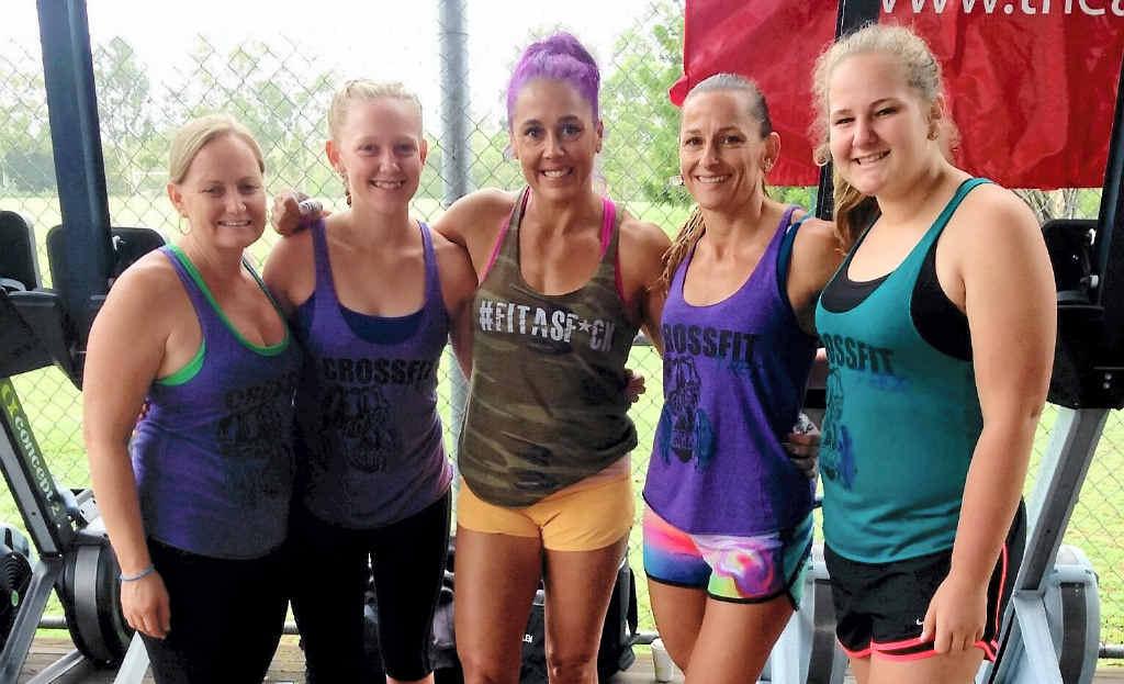 Linda Kroll, Imogen Price, world CrossFit champion Amanda Allen, Shannan Jackson and Amy Short at the Elite Fitness League competition in Rockhampton.