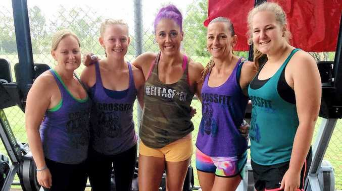 Linda Kroll, Imogen Price, world CrossFit champion Amanda Allen, Shannan Jackson and Amy Short at the Elite Fitness League competition in Rockhampton.