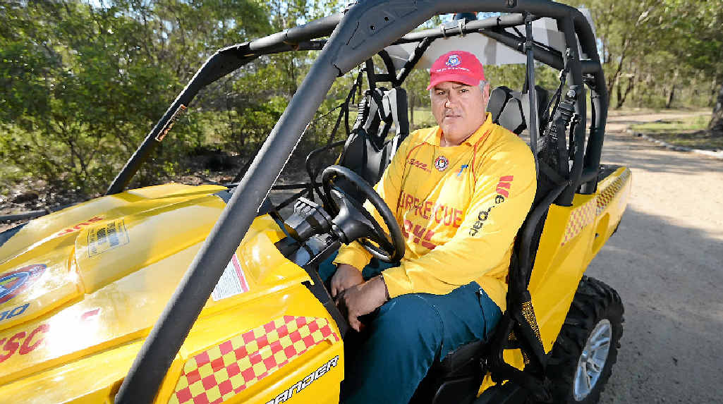 BACK IN SAFE HANDS: Yeppoon Surf Life Saving Club deputy president Jason Thompson inspects the all-terrain vehicle stolen from the club on Monday.
