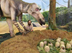 Animatronic dinosaur in M'boro City Hall