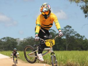 Maryborough BMX racer Jack Terry gets some air time.