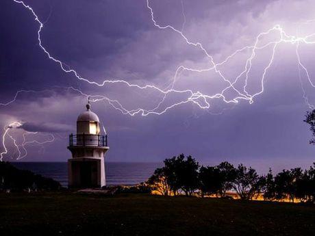 Lightning strikes near Ballina. Photo Contributed Scott Rolph Early Bird Photography