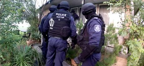 NABBED: Police officers from Strikeforce Badim yesterday raided a number of properties including three in Ballina (inset is the Grant St raid) and one each in Goonellabah, Alstonville and Evans Head as part of a year-long investigation.