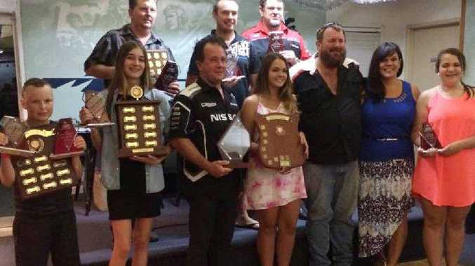 Proud winners from the Palmyra Dragway awards night with their trophies.