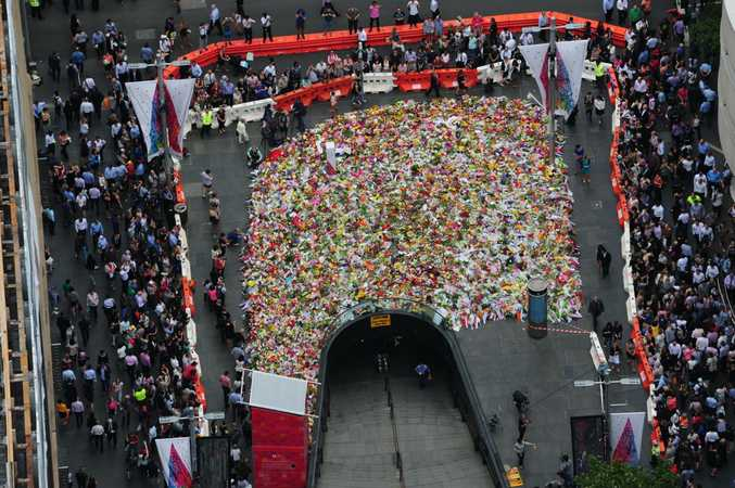Memorial at Martin Place from the air. Photo by NSW Police Force Airwing.