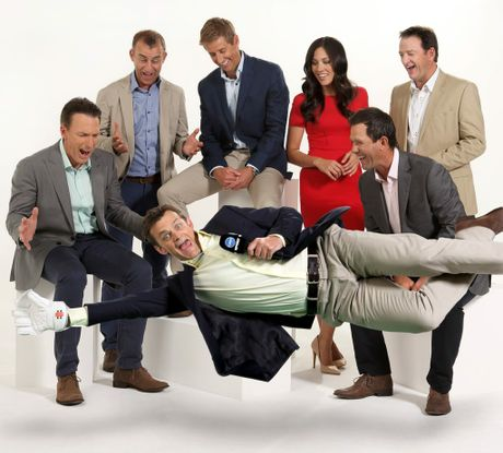 Channel 10's BBL commentary team: Damien Fleming, Andy Maher, Mark Howard, Mel McLaughlin, Ricky Ponting, Mark Waugh and Adam Gilchrist (front).
