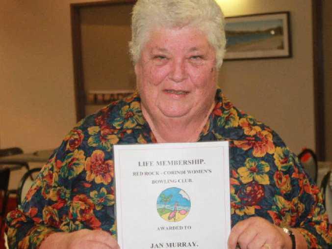 WORTHY RECIPIENT: Jan Murray was awarded life membership of Red Rock-Corindi Women's Bowling Club. PHOTO: CONTRIBUTED