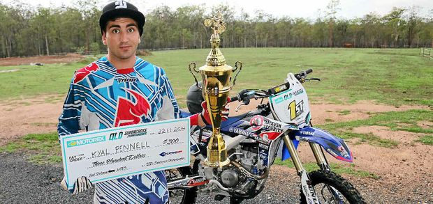 DEBUT WIN: Kyal Pennell won the Clubman Lights title at the Queensland Supercross Championships in December.