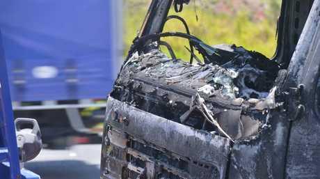 Truck fire on the highway near Mons Road. Photo: John McCutcheon / Sunshine Coast Daily
