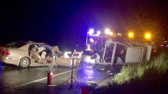 Scene of fatal traffic crash, Bruce Highway near Pomona. Photo: Contributed