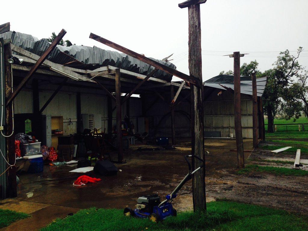 WILD WINDS: Tornado like winds tore through Andrew O'Neil's Southbrook stud farm. Photo Andrew O'Neil