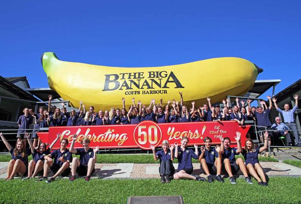 STAFF from The Big Banana celebrate the famous attraction turning 50. Photos: Gemima Harvey