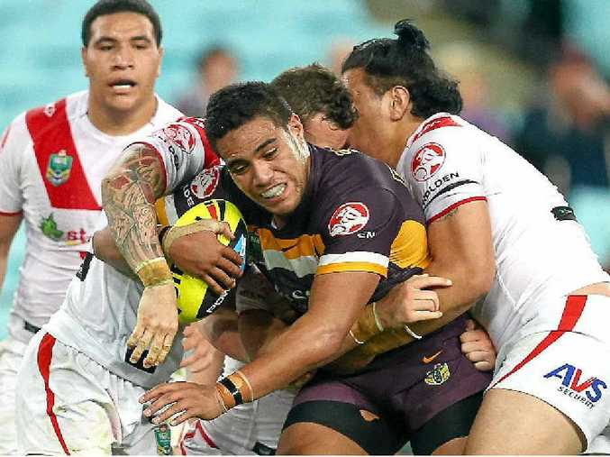 Joe Ofahengaue in action for the Broncos Under-20s against the Dragons last year.