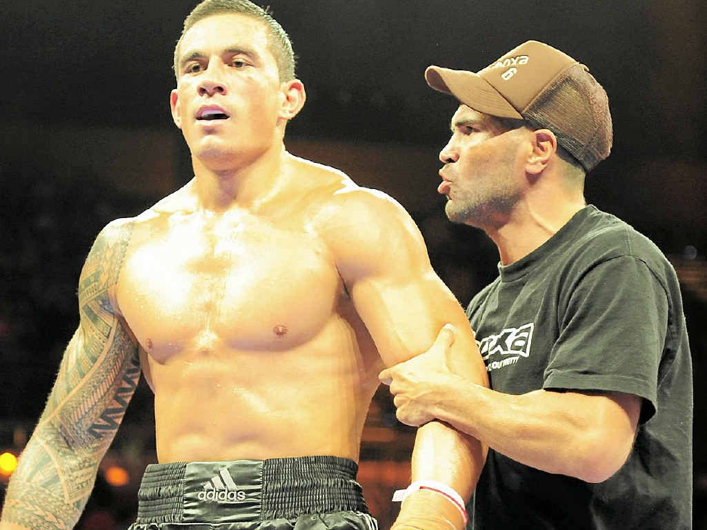 Anthony Mundine gives Sonny Bill Williams advice.
