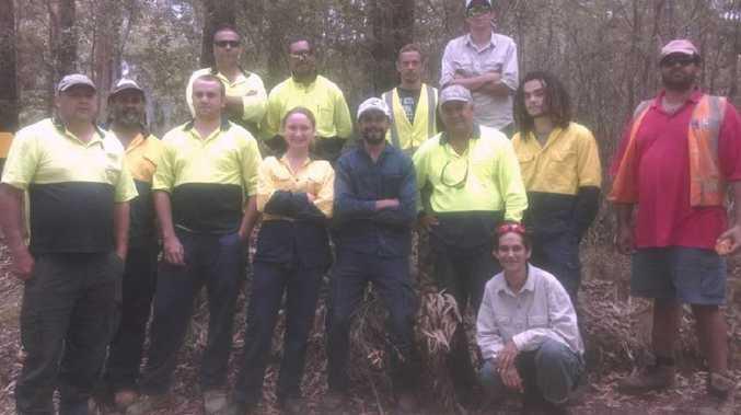 Members of the Ngurrala (Nambucca), Darrunda Wajarr (Coffs), Girrin (Yarrawarra) and Muurrbay Bindani (Grafton) Green Teams get stuck into habitat protection works.