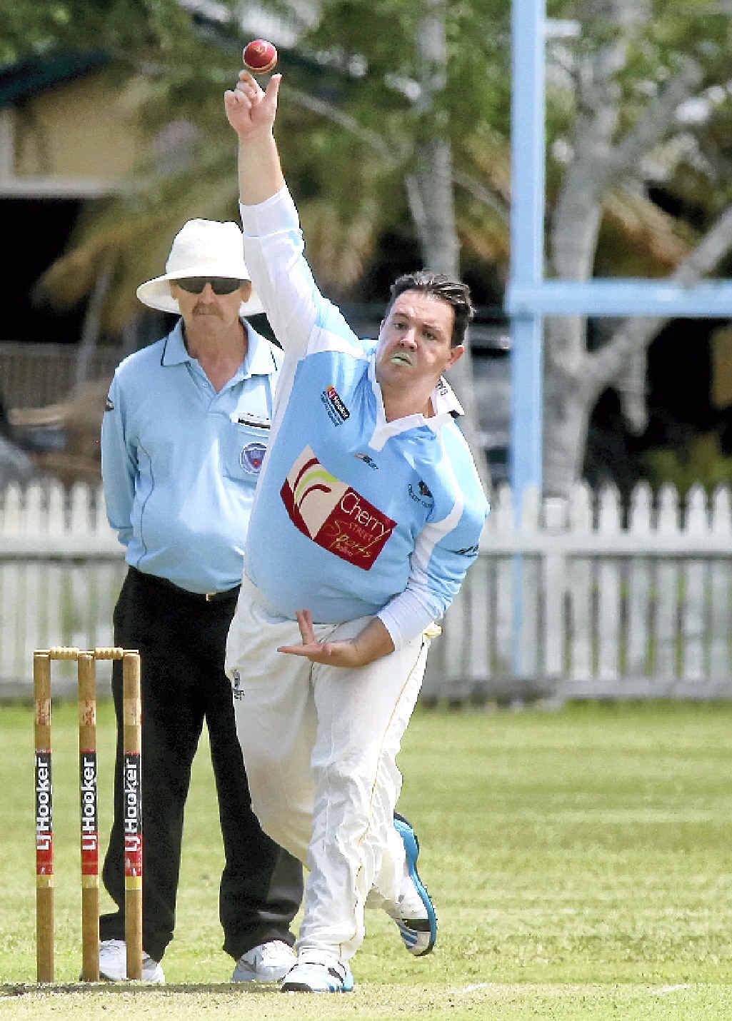 BOWLING BEAR: Leo Anderson sends one down for Ballina Bears in the Hooker League match against Tintenbar-East Ballina at Fripp Oval, Ballina, on Saturday. The umpire is Steve Czisz.