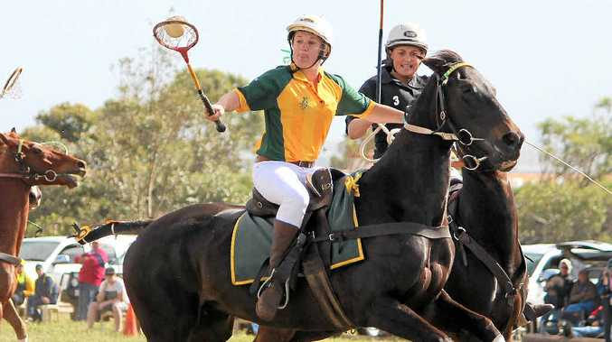 CUP PLAYER: Cunningham Polocrosse Club member Lauren Cant (with ball) shows her style for Australia in a Test at Moonyoonooka, WA.