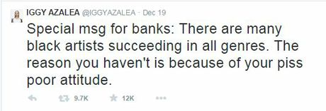 One of Iggy Azalea's Tweets to Azaelia Banks