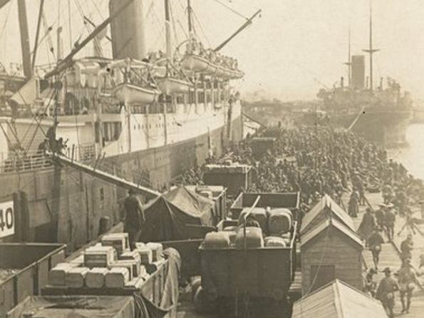 The Australian transport ships Ceramic (foreground) and Berrima in Melbourne in December 1914, before making their way to Albany for departure with the second Anzac convoy to Egypt. Courtesy of Australian War Memorial P10443.002.001