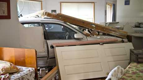 The car caused extensive damage in the house.
