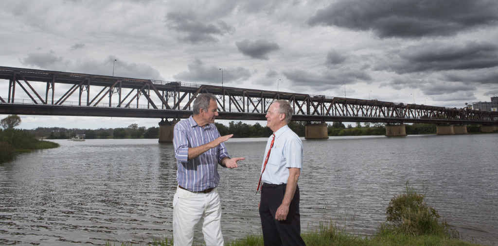 CONFIDENT: Member for Clarence Chris Gulaptis talks with Des Harvey at the announcement of a start-work time frame for the new Grafton bridge. PHOTO: ADAM HOURIGAN