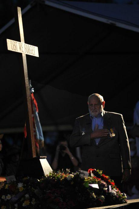 Wreaths are laid at the Anzac Day dawn service at Kings Beach, Caloundra. Photo: Iain Curry / Sunshine Coast Daily