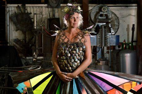 Julie Johnson will enter into the Wearable Art Competition as part of the Eumundi Body Art Festival. Photo: John McCutcheon / Sunshine Coast Daily