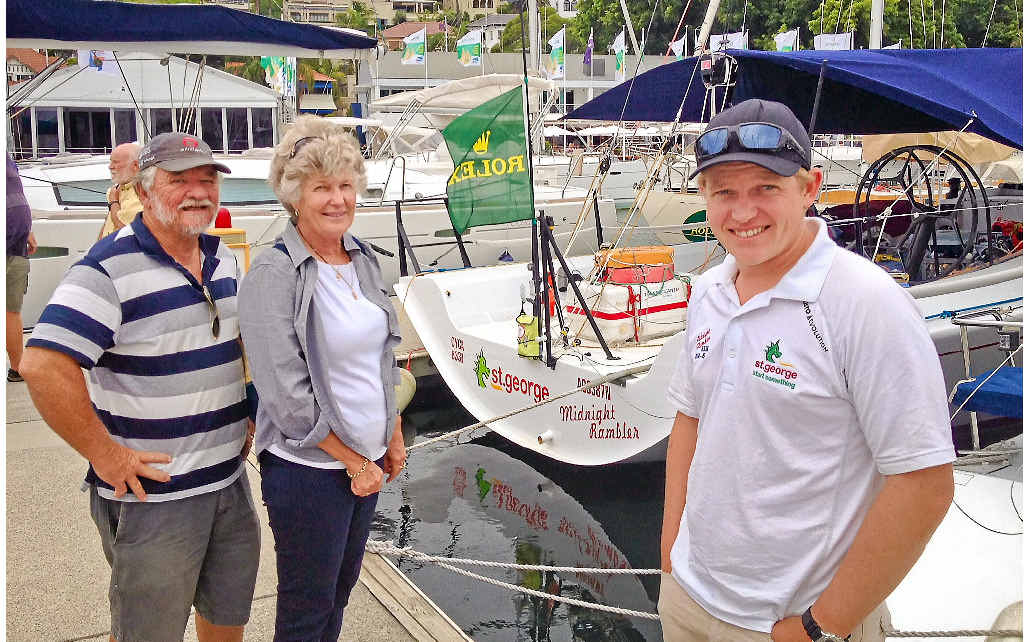 Brad and Maryke Barker with their son Tom before he ventures out on his 11th Rolex Sydney Hobart Yacht Race on the St George Midnight Rambler.