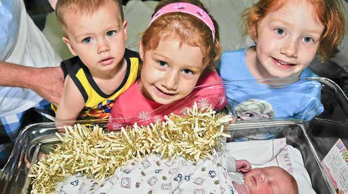 NEW ADDITION: Evan, 1, Taylor, 5, and Kasey Bolton, 6, with their new Christmas-born sister.