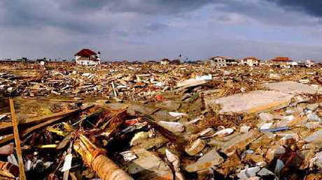 WIPED OUT: The scene of total destruction at Banda Aceh, Indonesia.