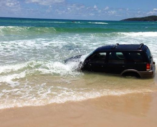 Claytons Towing helped tow this car which was beached at Noosa North Shore on Christmas Eve.