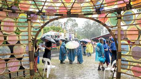 WET OUTLOOK: The Pineapple Lounge during day one of the Woodford Folk Festival.