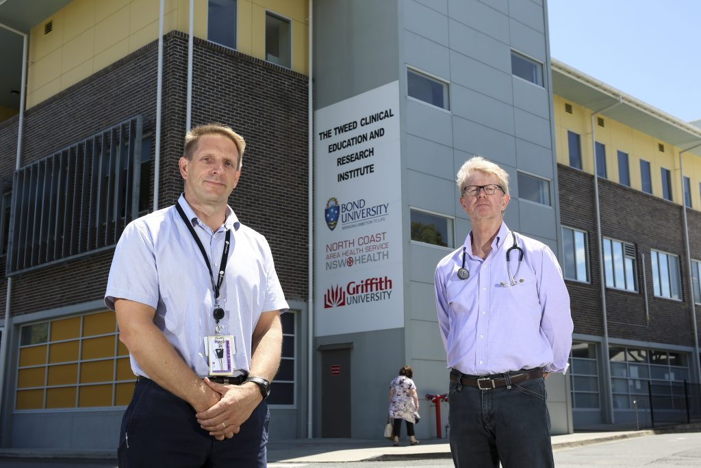 Campaigners for the upgrade of Tweed Hospital, Dr Rob Davies (Director of the emergency department) and Dr Ian Mcphee (anesthetist and chair of the Tweed Hospital Medical Staff Council), pictured at the beginning of the Heal Our Hospital campaign with the Tweed Daily News. December 2014.