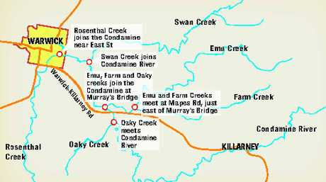 WHERE THE RIVERS MEET: There's plenty of catchment area with several creeks joining the Condamine River before reaching Warwick.