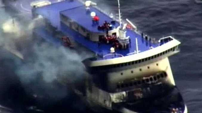 A photo grab taken from a video made available by the Guardia costiera, Italy's coast guard organization on December 28, 2014, shows the burning ferry