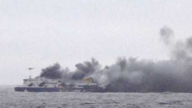 The ferry carrying hundreds of passengers caught fire off the Greek island of Corfu.