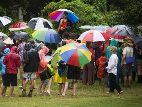 Umbrellas were the order of the day at the Woodford Folk Festival on Sunday. Photo: Woodford Folk Festival.