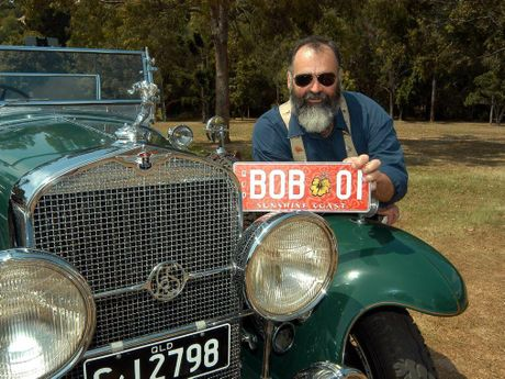 Bob Abbot with his personalised number plates and a 1929 La Salle.