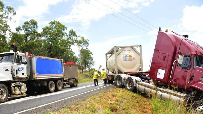 Two trucks collided on the Gladstone Mount Larcom Road on Monday December 29, causing the road to be closed for some time.