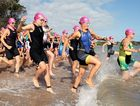 Hervey Bay 100- Triathletes hit the water for the first leg of the triathlon. Photo: Robyne Cuerel / Fraser Coast Chronicle