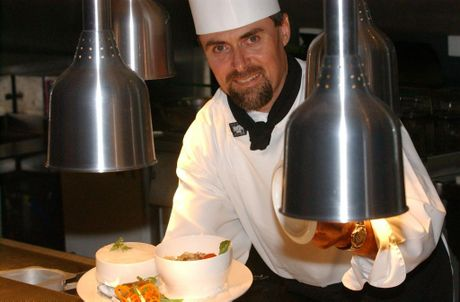 Then Nambour RSL's Mandolins Restaurant executive chef Lindsey Palmer with a Mandolins Seafood Hot Pot.