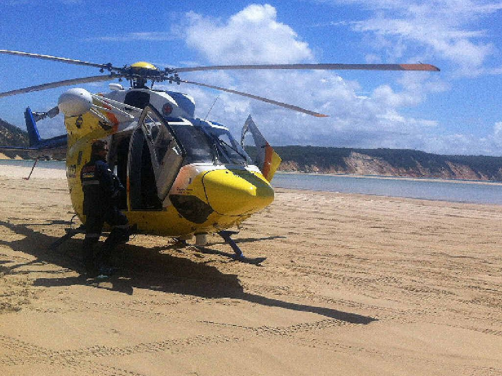RESCUE: An injured wakeboarder was airlifted from Double Island Point on Saturday.